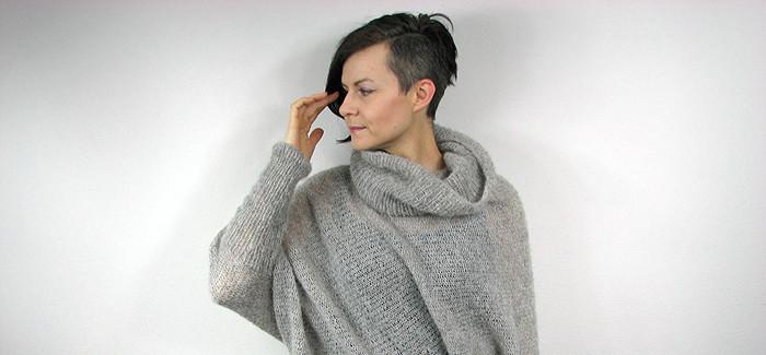 """opisowo – asymetryczny sweter """"chmurka"""""""
