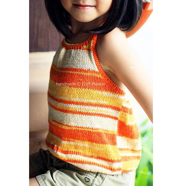 letnie topy na drutach dziergany top bez pleców dla dziewczynki