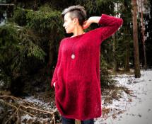 sweter oversize na drutach