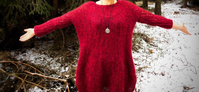 opis wykonania: sweter oversize, a właściwie prawie sukienka