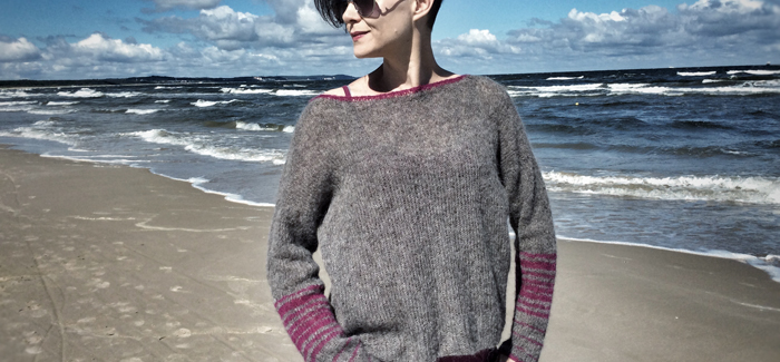 Schemat sweterka piórkowego bez rękawów raglanowych