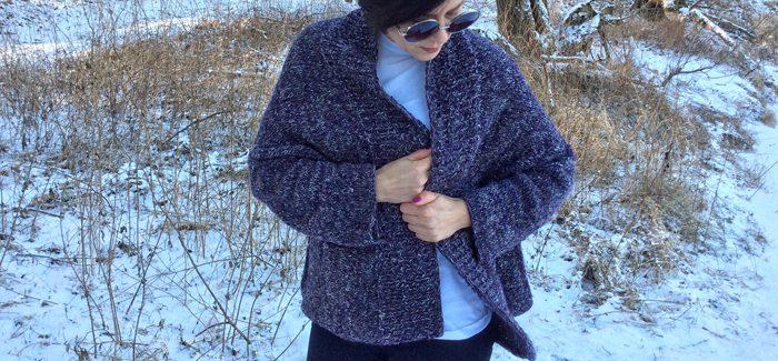 gruby sweter na drutach, czyli drugie podejście do Folded Squares Cardigan