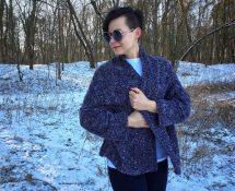 gruby sweter na drutach